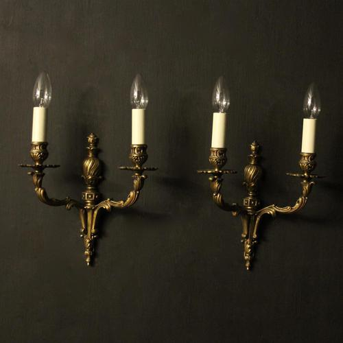 Twin Arm Antique Wall Lights (1 of 9)