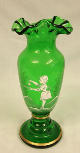 Mary Gregory Painted Green Glass Shaped Vase (1 of 6)