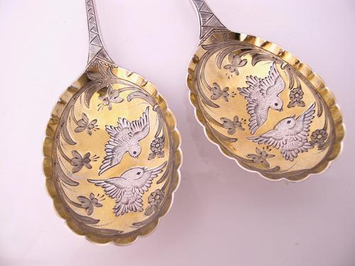Fab Victorian fruit spoons, amazing songbird decoration Thomas Prime & Son London c.1880 (1 of 7)
