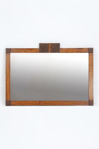 Art Deco Oak Mirror / Overmantle Mirror (1 of 13)