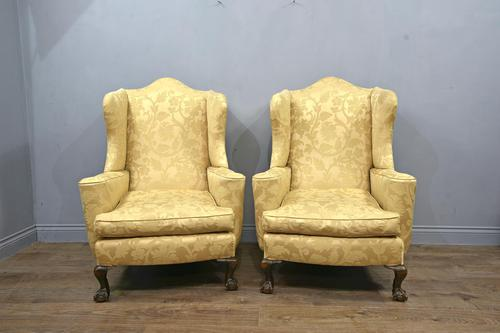 pair of antique wingback arm chairs (1 of 6)