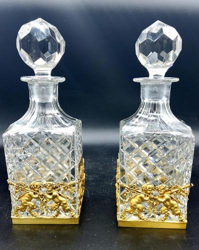 Pair of French Ormolu Cut Crystal Decanters Whisky & Cognac (1 of 8)
