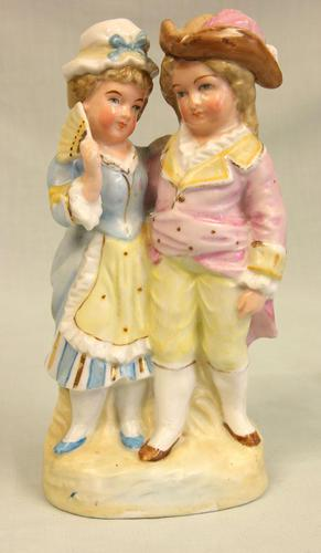 Antique Single Glazed Figure of Young Boy & Girl (1 of 5)