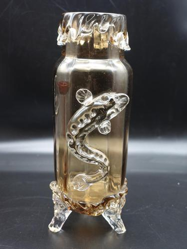 Late 19th Century Amber Vase Applied with Fish (1 of 1)
