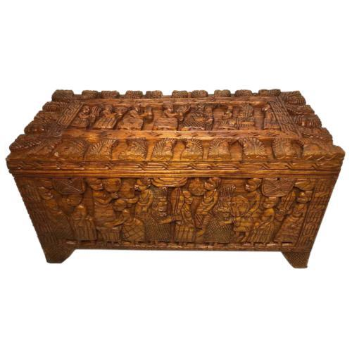 Large vintage Chinese tribal camphor wood carved chest coffee table (1 of 12)