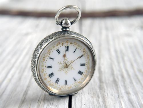 Antique Swiss Silver Women's Pocket Watch, Fancy Case, Fully Hallmarked c.1900 (1 of 10)