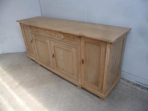 Great 2 Metre Antique Pine 4 Door Dresser Base / TV Stand to wax / paint (1 of 9)