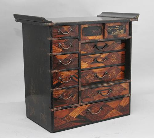 19th Century Japanese parquetry and lacquered cabinet (1 of 11)