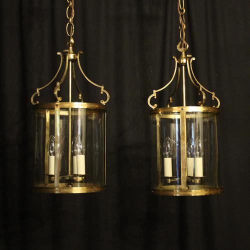 French Pair Convex Triple Light Antique Lanterns (1 of 9)