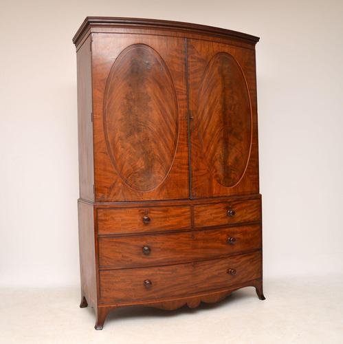 Antique George III Bow Fronted Linen Press (1 of 11)