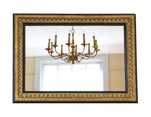 Large Black and Gilt 19th Century Overmantle or Wall Mirror (1 of 6)