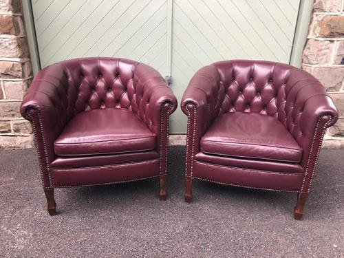 Pair of Antique Leather Gentleman's Club Armchairs (1 of 8)