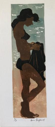 original screen print 'On the beach' by Toby Horne Shepherd 1909-1993. Signed and number 10/20 c.1965 (1 of 1)