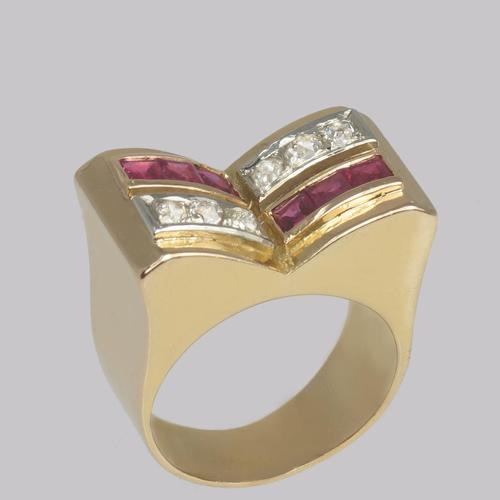 Art Deco Diamond & Ruby 18ct Gold Vintage French Retro Cocktail Ring 1930's (1 of 10)