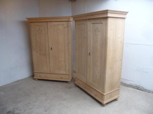 Quality Pair of Carved Antique Pine Knockdown Wardrobes to wax / paint (1 of 11)