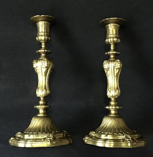 Pair of  Antique Rococo Style  Gilt Cast Brass Candlesticks (1 of 5)