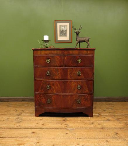 Antique Bow Front Mahogany Chest of Drawers, Country House Chest (1 of 16)
