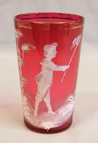 Victorian Mary Gregory Cranberry Glass Tot (1 of 4)