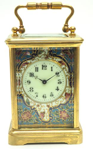 Superb French 8 Day Champleve Carriage Clock Cylinder Platform, Working c.1900 (1 of 12)