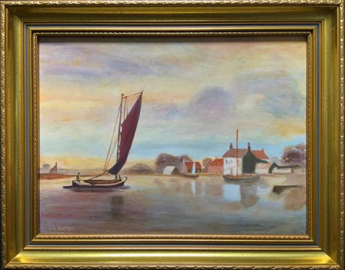 Contemporary, British School - Sailing on the Estuary - Seascape Oil Painting (1 of 11)