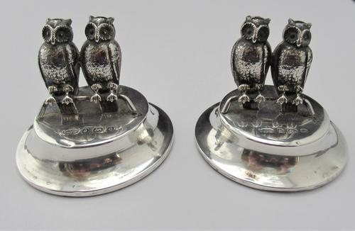 Edwardian, Novelty Silver Twin Owl Place Stands/ Menu Holders, Levi & Salaman, B'ham 1904 (1 of 8)