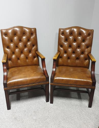 Pair of Leather Library Chairs (1 of 10)