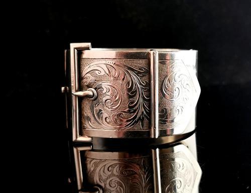 Victorian Silver Cuff Bangle, Wide, Buckle (1 of 11)