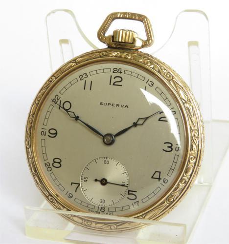1940s Art Deco Superva  Pocket Watch (1 of 4)