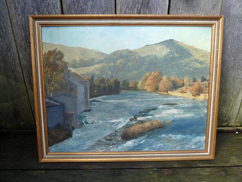 """Des Armour """" Welsh River """" Modern British Oil on Board- 1970's (1 of 6)"""