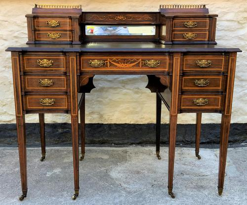 Maple & Co - Stunning Edwardian Marquetry Rosewood Library Writing Table Desk (1 of 15)