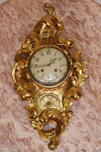 Scandanavian Wall Clock Antique Carved Rococo Giltwood Clocks (1 of 10)
