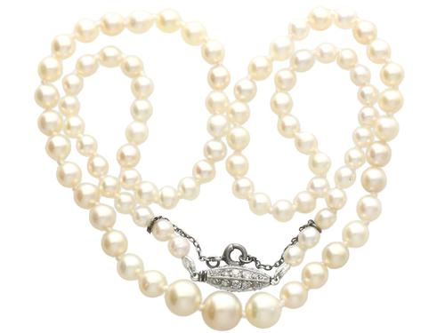 Single Strand Natural Pearl Necklace with 0.30ct Diamond Set Clasp c.1930 (1 of 12)