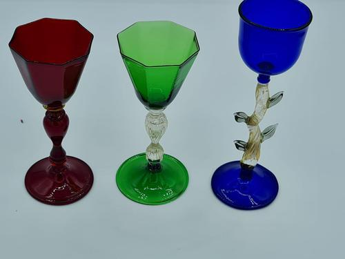 Salviati Glasses Set if 3 Different Liqueur Glass with Unusual Beautiful Feet (1 of 7)