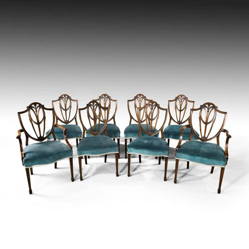 Most Attractive Set of 8 Early 20th Century Hepplewhite Chairs of Classical Form (1 of 5)