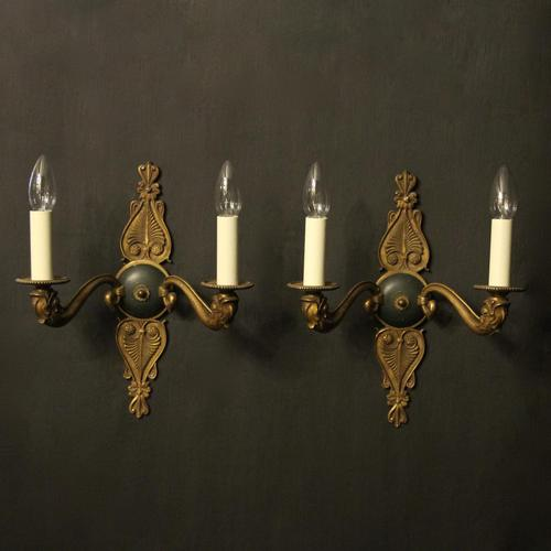 French Pair of Gilded Empire Antique Wall Lights (1 of 10)