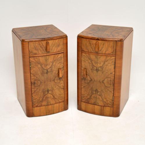 Pair of Art Deco Figured  Walnut Bedside Cabinets (1 of 10)