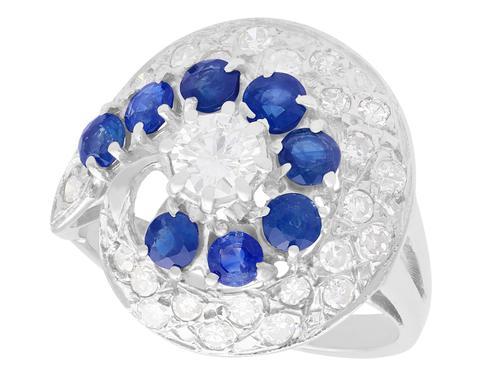 1.05ct Sapphire & 1.45ct Diamond, 18ct White Gold Dress Ring - Vintage c.1950 (1 of 9)