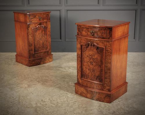 Late Victorian Figured Walnut Bow Front Bedside Cabinets (1 of 17)