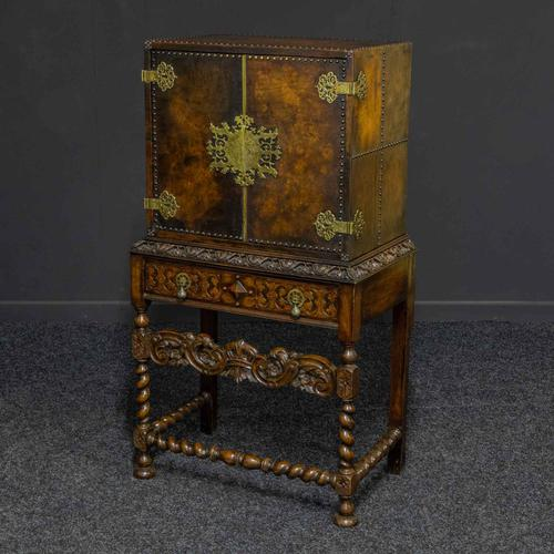 Late Victorian Leather Bound Cupboard on Stand (1 of 10)