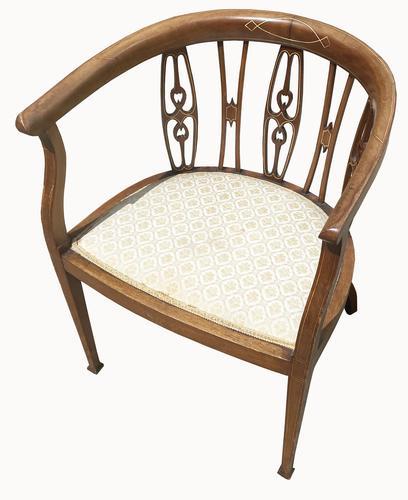 Edwardian Mahogany & Inlaid Tub Chair (1 of 5)