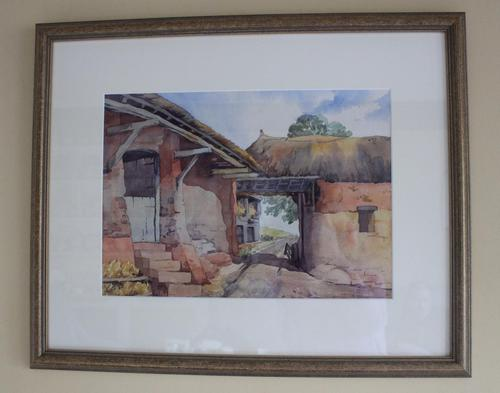 Vintage Original Watercolour - Old Barns & Countryside - A Millin (1 of 4)