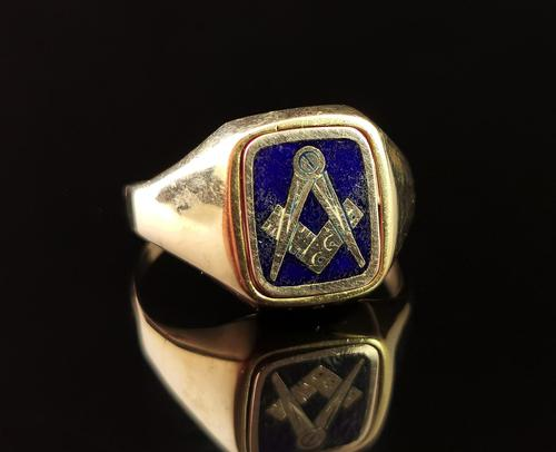 Vintage 9ct Gold Masonic Swivel Ring, Signet, Blue Enamel (1 of 13)