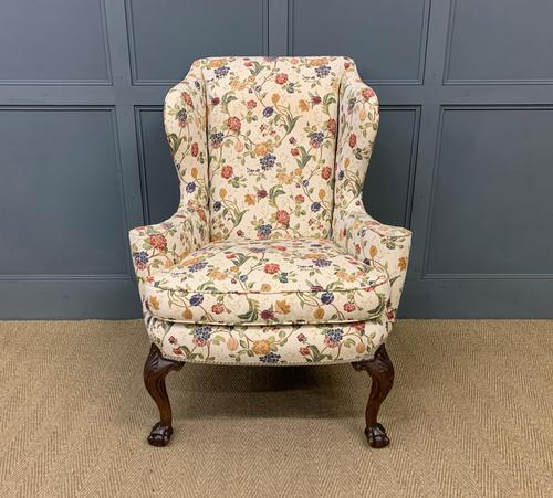 Upholstered Walnut Wing Armchair (1 of 9)