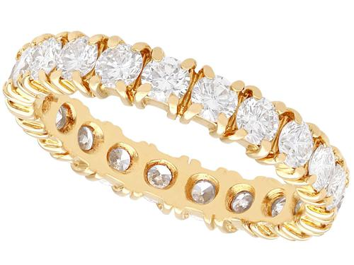 1.95ct Diamond & 18ct Yellow Gold Full Eternity Ring - Vintage French c.1980 (1 of 9)