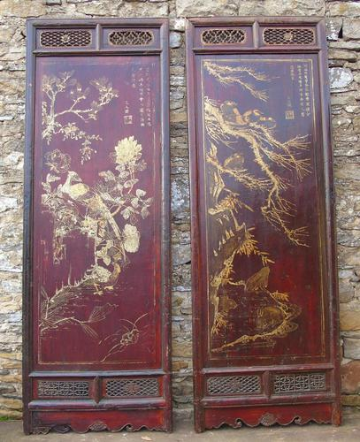 Impressive Pair of Chinese Chinoiserie Lacquered Panels (1 of 10)