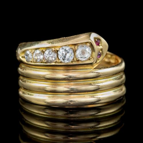 Antique Edwardian Old Cut Diamond Snake Ring 18ct Gold Dated 1916 (1 of 7)