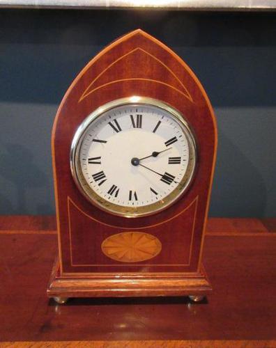 Superb Antique Sheraton Inlaid Mantel Clock (1 of 6)