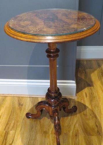 Victorian Inlaid Wine Table in Burr Walnut & Solid Walnut (1 of 5)