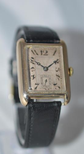 1926 Art Deco Period 9k Gold 'Tank' Wristwatch (1 of 5)