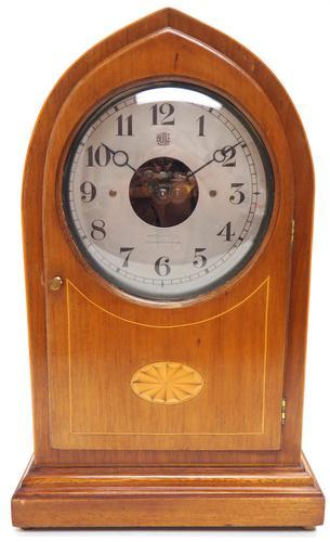 Fine Antique Bulle Electric Mantel Clock – Mahogany & Satinwood Case Mantle Clock (1 of 9)